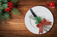 Christmas table setting. Top view royalty free stock image