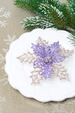 Christmas table setting, top view Royalty Free Stock Images