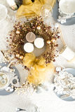 Christmas Table Setting with traditional Holiday Decorations Stock Photography