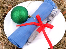 Christmas table setting on white Royalty Free Stock Photography
