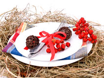 Christmas table setting on white Stock Photo