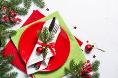 Christmas table setting on white background. Stock Images