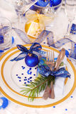 Christmas table setting in white and blue colors Royalty Free Stock Photography