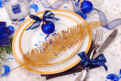 Christmas table setting in white and blue colors Royalty Free Stock Images