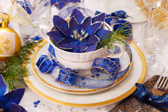 Christmas table setting in white and blue colors Stock Photo
