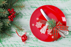 Christmas table setting on wooden background Stock Photos
