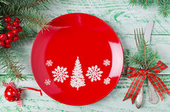 Christmas table setting on wooden background Stock Photography