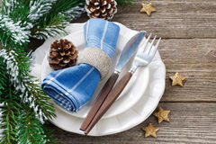 Christmas table setting on a wooden background, horizontal Royalty Free Stock Images
