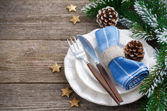 Christmas table setting on a wooden background, horizontal Stock Photography