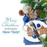 Christmas table setting with wooden decorations, isolated Stock Images