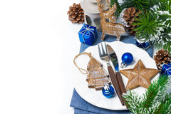 Christmas table setting with wooden decorations Royalty Free Stock Image