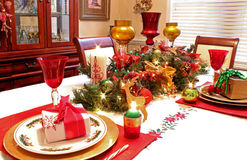 Christmas table settings Royalty Free Stock Photo