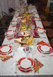 Christmas table with tasty food Royalty Free Stock Images