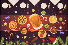 Christmas table top view, dishes with turkey, cookies, dessert and decorations. New year vector food illustration. Christmas table top view, dishes with turkey Stock Photos