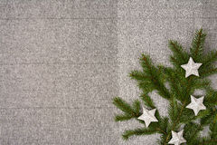 Christmas table top view. Linen tablecloth texture background. Stock Photography