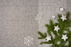Christmas table top view. Linen tablecloth texture background. Christmas table seen from above, top view. Linen, vintage background with visible texture. Mock Royalty Free Stock Photos