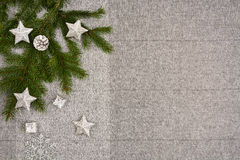 Christmas table top view. Linen tablecloth texture background. Royalty Free Stock Images