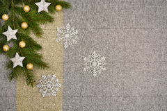 Christmas table top view. Linen tablecloth texture background. Christmas table seen from above, top view. Linen, vintage background with visible texture. Mock Royalty Free Stock Image