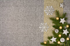 Christmas table top view. Linen tablecloth texture background. Christmas table seen from above, top view. Linen, vintage background with visible texture. Mock Stock Photography