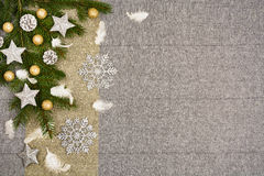 Christmas table top view. Linen tablecloth texture background. Christmas table seen from above, top view. Linen, vintage background with visible texture. Mock Stock Photo