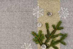 Christmas table top view. Linen tablecloth texture background. Christmas table seen from above, top view. Linen, vintage background with visible texture. Mock Stock Image