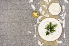 Christmas table top view. Linen tablecloth texture background. Royalty Free Stock Photo