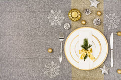 Christmas table top view. Linen tablecloth texture background. Royalty Free Stock Image