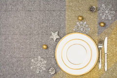 Christmas table top view. Linen tablecloth texture background. Stock Images