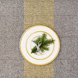 Christmas table top view. Linen tablecloth texture background. Stock Photos