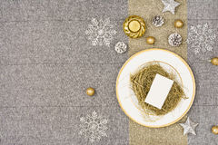 Christmas table top view. Linen tablecloth texture background. Royalty Free Stock Photography