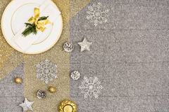 Christmas table top view. Linen tablecloth texture background. Christmas table seen from above, top view. Linen, vintage background with visible texture. Mock Royalty Free Stock Photography