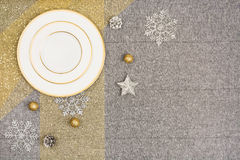 Christmas table top view. Linen tablecloth texture background. Christmas table seen from above, top view. Linen, vintage background with visible texture. Mock Stock Photos