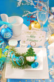 Christmas table with visiting card holder Royalty Free Stock Photography
