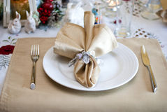 Christmas table. In white and gold colors Royalty Free Stock Images