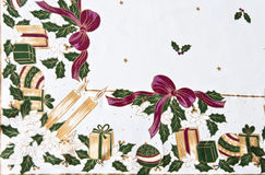 Christmas tablecloth. Tablecloth detail typical Christmas decorations Royalty Free Stock Images