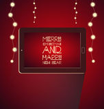 Christmas with tablet. Background of Christmas with tablet Stock Images