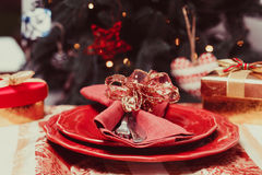 The Christmas tableware Royalty Free Stock Photo