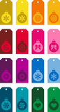Christmas tag icon set. Set of colorful Christmas tag icons with ball ornaments Royalty Free Stock Photo