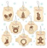 Christmas tag labels Stock Images