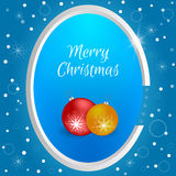Christmas tag with round red and yellow Christmas balls on a blue background with snowflakes. Suitable for web design, postcards, Royalty Free Stock Photography
