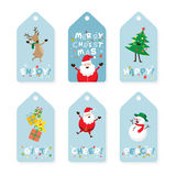 Christmas Tag, Santa Claus and Friends with Lettering Royalty Free Stock Image