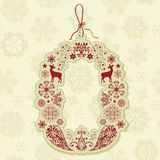 Christmas Tag on Seamless Pattern Royalty Free Stock Photography
