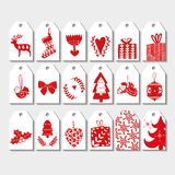 8 Christmas tag set. Christmas card set. Vector illustration. Template for greeting winter holiday invitation cards vector illustration