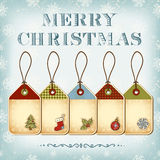 Christmas tags. And vintage lettering Merry Christmas Stock Photos