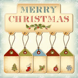 Christmas tags. And vintage lettering Merry Christmas Royalty Free Stock Photo