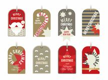 Christmas tags collection with stars,candy cane,ball,stripes,mustache and New Year wishes.Vector illustration stock illustration