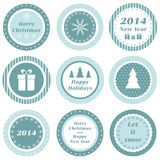 Christmas tags. Cupcake toppers for Christmas and New Year Stock Image