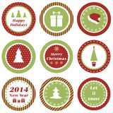 Christmas tags. Cupcake toppers for Christmas and New Year Stock Photography