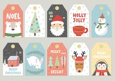 Christmas tags cute collection. Labels with Santa, bear, rabbit, deer, penguin and snowman. Vector illustration Stock Photos