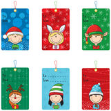 Christmas tags with funny kids. Collection of Christmas tags with funny kids Stock Photo
